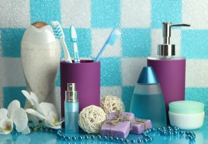 organized purple and blue bath supplies